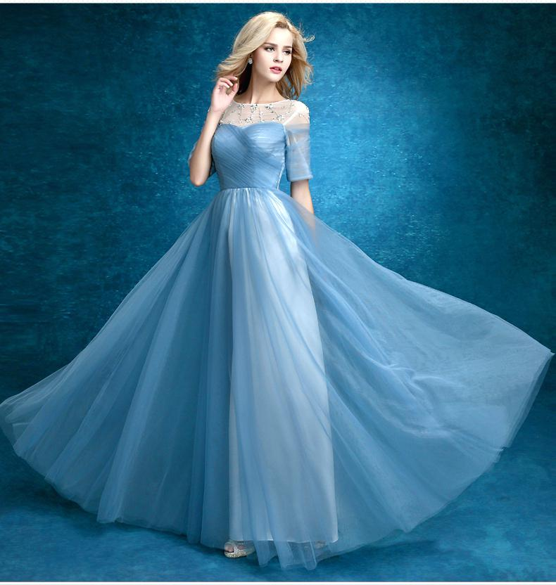 light teal color dresses hot sale elegant light blue prom dresses with short sleeves high quality sheer neck floor length hand made gowns in prom dresses from weddings light teal blue dresses