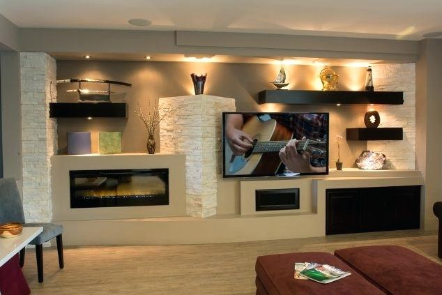media wall unit with fireplace breathtaking gypsum board and niches for wall unit