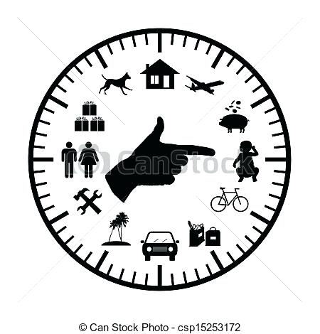 modern clock face clock with symbols of family expenses sources all over its face and a hand pointing to chosen ones