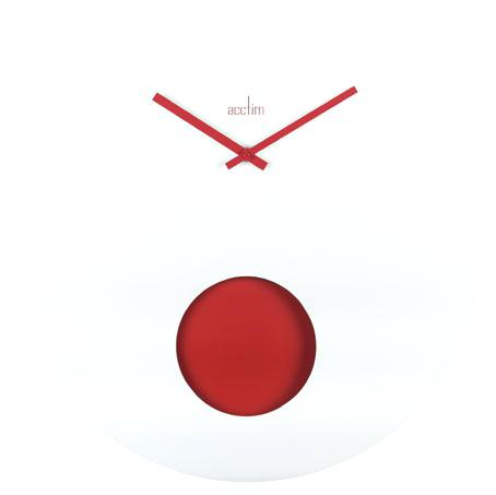 modern clock face funky round white board clock set with a jazzy red bob pendulum swinging behind the hole in the clock face and red hands for a great contrast
